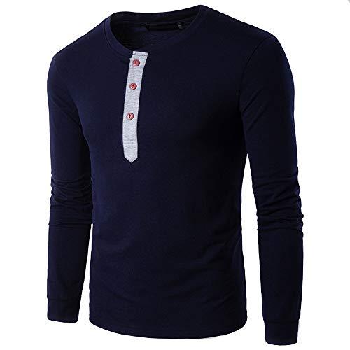 OSYARD Bluse Pullover Herren, Männer Herbst Winter Casual Strickpullover Henry Colar Langarm Shirt Top mit Button Rundhalsausschnitt Freizeit Sweatshirt Oberseiten Kleidung Bluse (L, Marine)