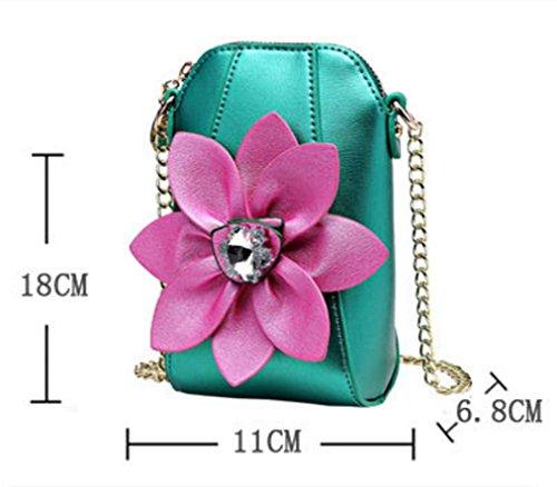HYLM Damen Mini Taschen Handy Taschen Ketten Strass Blumen Schultertasche / Messenger Münze Geldbörse Green