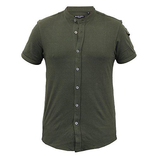 Herren Shirt Brave Soul Piquet Opa Kragen Baumwolle Aufrollen Kurze Ärmel Sommer Khaki - 69JOEY