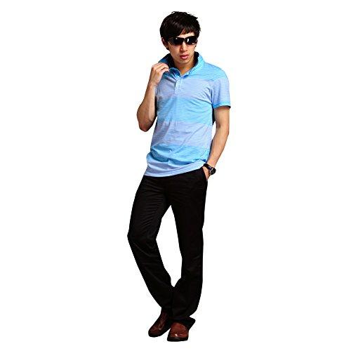 LONGHAN mercerisierter Baumwolle Herren-Kurzarm-T-Shirt des Sommers neue junge gestreifte Kurzhülse Hemdkragen lose mitfühlend Gezeiten LH-0008 (M) (Jersey Fit Tee Einfach V-neck)
