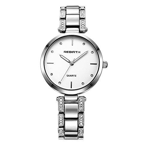 Roman einzigartiger Silber Fall Damenuhr mit Edelstahlband populären Art und Weise grell Diamant-Uhr (Von Am Den Girls Golden Besten)