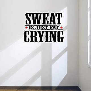 DesignDivil Sweat Is Just Fat Crying. Gym Motivational Wall Decal Quote Health & Fitness Spinning Kettlebell Workout Boxing UFC MMA