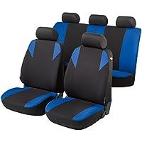 RMG R01V062 Fundas de asiento R01 negro azul para asientos con airbag con apoyabrazos y asientos divididos