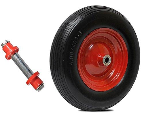 PU Schubkarrenrad Ersatzrad Rad 4.80/4.00-8 400mm Reifen für Schubkarre Vollgummi mit Achse