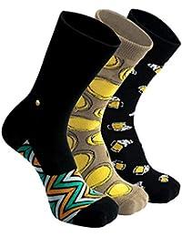 The Moja Club - Men's Luxury, Formal Socks - [Pack of 3] - Designs = Incognitoes, Beer Mugs & Mustard socks