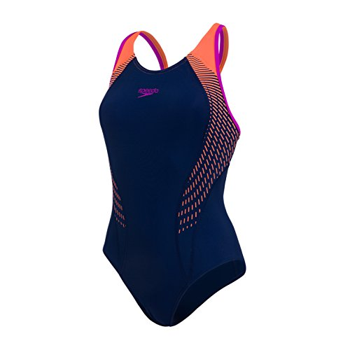 Speedo Damen Fit Laneback Badeanzug, Navy/Fluo-Orange/Diva-Rosa, ()