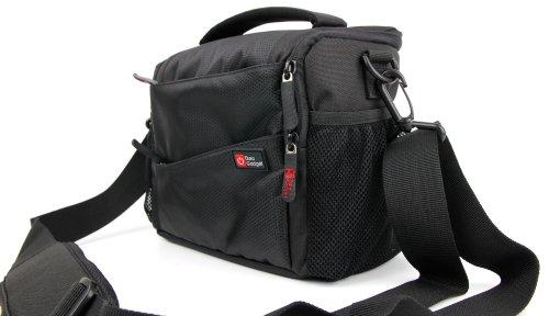 DuraGadget - Tasche in 3 Tragevarianten - Schultertasche | Gürteltasche | Tragetasche für Ihren Camcorder Seree HDV-520 | HDV-S14 | HDV-S38, sowie Platz für Zubehör Schwarz
