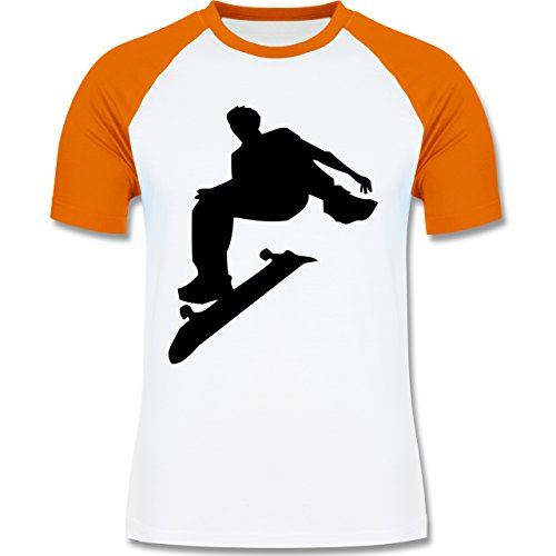 Shirtracer Sonstige Sportarten - Skater - Herren Baseball Shirt Weiß/Orange