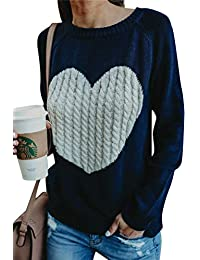 81db327a551ca Minetom Pull Femme Hiver Automne Chaud Sweater Col Rond Tops Jumper Tricot  Pull-Over Mode