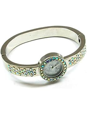 Die Olivia Kollektion: Silberfarbene runde Zirkonia Spangenuhr