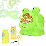 JBSON Bubble Machine, Automatic Frog Bubble Blower Bubble Maker Over 500 Bubbles per Minute for Kids Birthday Party, Wedding, Indoor and Outdoor Games with 2 Empty Bottles