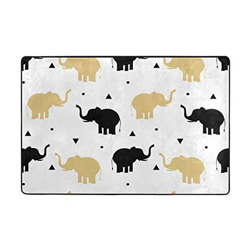 AMONKA Fußmatte Elefant schwarz gelb Fußmatte Eingangsmatte Fußmatte Teppich Innen Außen Tür Badezimmer Mats 91,4 x 61 cm & 182,9 x 121,9 cm, Textil, Multi, 72 x 48 inch - Läufer 72 Teppich 24