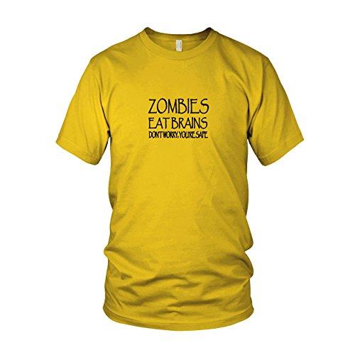 Zombies eat Brains - Herren T-Shirt, Größe: XXL, Farbe: gelb
