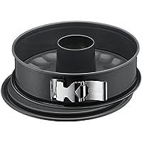 Kaiser La Forme Plus Springform mit Flach- und Rohrboden, Ø 28 cm, 2 Böden, runde Backform, SafeClick-Verschluss, schnittfest, auslaufsicher, antihaftbeschichtet, grau