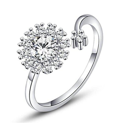 Bling Jewelry Donna Placcato platino brillante cristalli fiocco misura regolabile dimensioni aperto anello