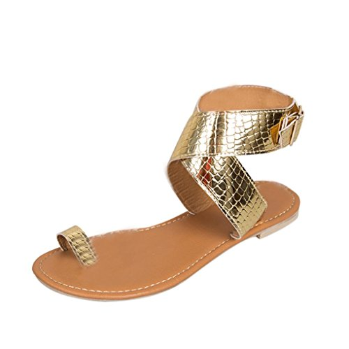 VJGOAL Damen Sandalen, Damen Mode Kreuz Gürtel Rom Riemchen Gladiator Low Flachen Flip Flops Strand Sandalen Schuhe (42 EU, Gold)