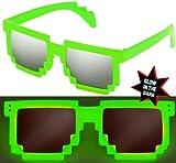 Nerd PIXEL Brillen Glow LEUCHTEN / Verschiedene Farben: Farbe: Grün Silber verspiegelt