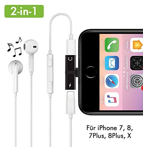 2-in-1 Lightning Kopfhörer Adapter für iPhone 7/8, 7/8 Plus, X/10 Kopfhörer und Laden Dual Lightning Adapter Splitter Musik hören und gleichzeitig Aufladen (schwarz)