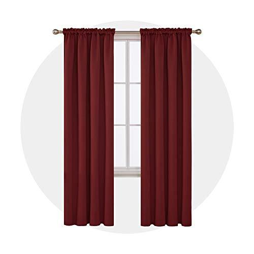 Deconovo tende oscuranti termiche isolanti con passanti per la casa 140x290 cm rosso scuro 2 pannelli