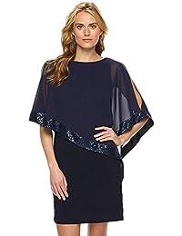 Minetom Femme Été Élégant Col Rond Demi Manches Paillettes Courte Robe  Mince Couleur Solide Mini Habiller ac5787f08109