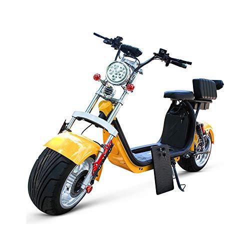 LMJ-XC Harley Elektroauto Skateboard Lithiumbatterie Harley Elektro Walker 60V 1500W Dualbatterie abnehmbare Lithiumbatterie,Yellow (1500w Elektro-roller)