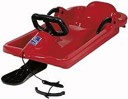 AlpenGaudi Drive - Kinder Schlitten für zwei Personen mit Bremshebel, Zugschnur und robustem Lenker, rot, One Size