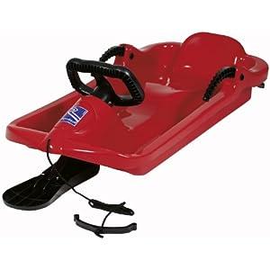 AlpenGaudi Drive – Kinder Schlitten für zwei Personen mit Bremshebel, Zugschnur und robustem Lenker, rot, One Size