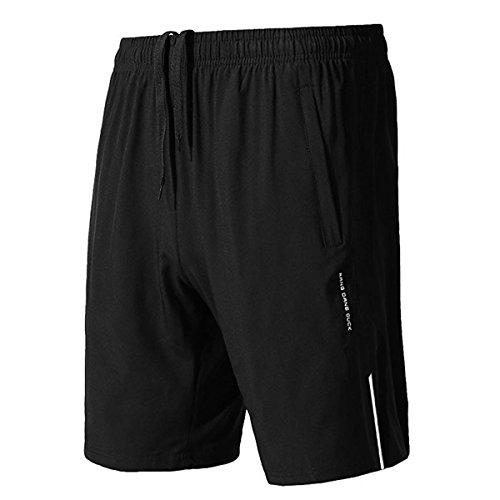 donhobo Men's Training Running Gym Lightweight Sport Shorts With Zip Pockets
