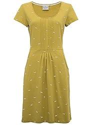 Brakeburn Ladies 100% Cotton Mustard Short Cap Sleeve Peated Front Sausage Dog Print Dress from Brakeburn