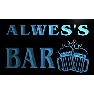 w102178-b ALWES Name Home Bar Pub Beer Mugs Cheers Neon Light Sign