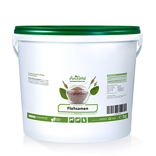 AniForte Flohsamen Ganz 3 kg für Pferde, Hunde und Katzen, Reich an Ballaststoffen und Schleimstoffen, Indische Rohkost Qualität, Sparpack -