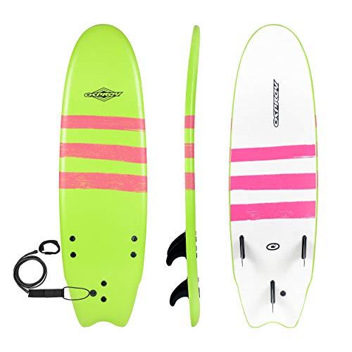 Osprey Foamie Enfants et Adultes, Planche de Surf en Mousse pour débutants –Plusieurs Couleurs, Mixte, 8in Soft Top Beginners Triband Foamie, Vert Citron