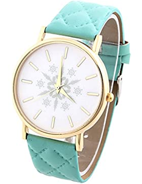 HITOP Vintage Retro Snowflake Muster Armbanduhr Basel-Stil Leather Quarz Gesteppte Lederarmband Uhr Damen Minzgrün