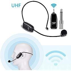 Micro Serre Tête sans Fil 2 en 1, EXJOY Microphone sans Fil UHF à Transmission Stable de 80m, pour amplificateur de Voix, pour Conférence/Scène/Enseignement/Guide/Tourisme