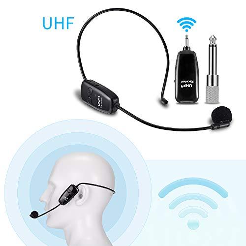 Microfono Archetto Wireless UHF, EXJOY wireless microfono palmare 2 in 1 per amplificatore vocale, trasmissione wireless 80 m, perfetto per Guida Turistica, Performance, Lezione, Discorso