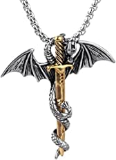 Moneekar Jewels Men's Punk Titanium Steel Dragon Sword Wing Pendant with Chain Necklaces(Gold, XPO15219)
