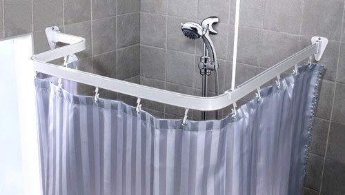 Asta angolare per doccia universale bianca inclusi ganci per