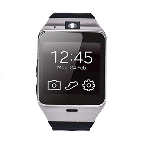 GV 18 bluetooth intelligente orologio, FEITONG orologio da polso GSM NFC fotocamera TF carta per samsung (Nero) - Sms Trainer