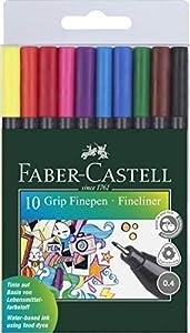 Faber-Castell - Estuche con 10 rotuladores grip de punta fina (151610)