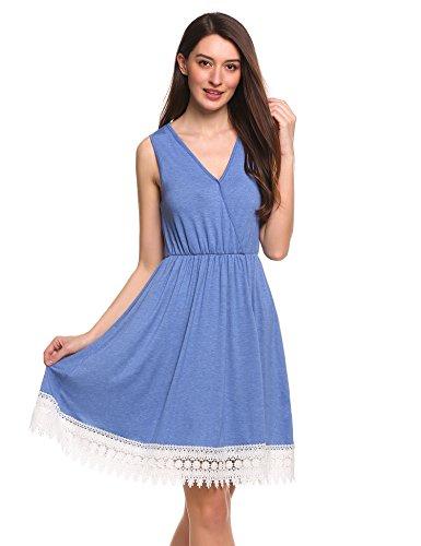Zeagoo Damen elegant Damen Sommerkleid ärmellos mit spitze Faltenrockkleid Retro Vintage Party Cocktailkleider Abendkleider Knielang Blau XXL