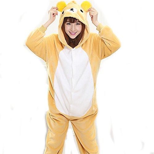 Bär Ganzkörper Tier-Kostüm für Erwachsense - Plüsch Einteiler Overall Jumpsuit Pyjama Schlafanzug - Gelb/Weiß - Gr. L