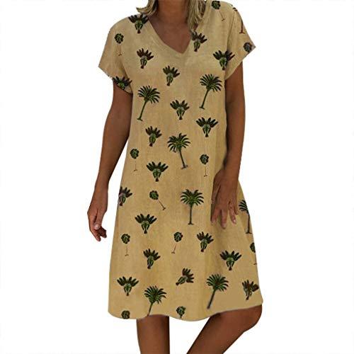Lulupi Geblümtes Kleid Damen,Leinenkleider Damen Große Größen,Boho Retro Minikleid V-Ausschnitt Kurzarm Sommerkleider