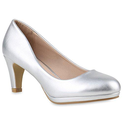Stiefelparadies Damen Klassische Pumps Stilettos Leder-Optik Elegante Schuhe 145099 Silber 39 Flandell