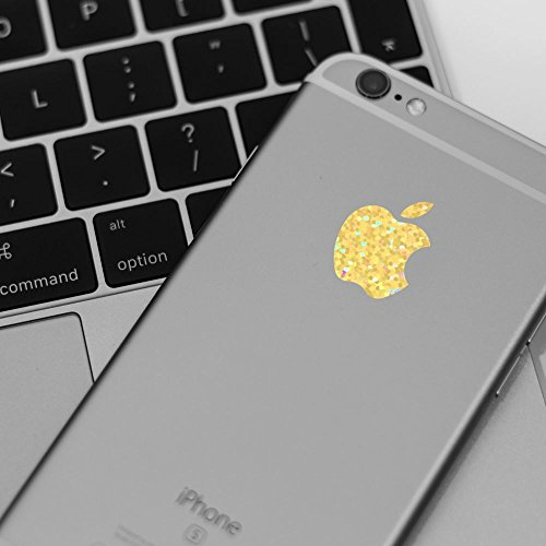Supertogether Gold Sparkle Apple Logo Decal Sticker for iPhone - 4 Pack