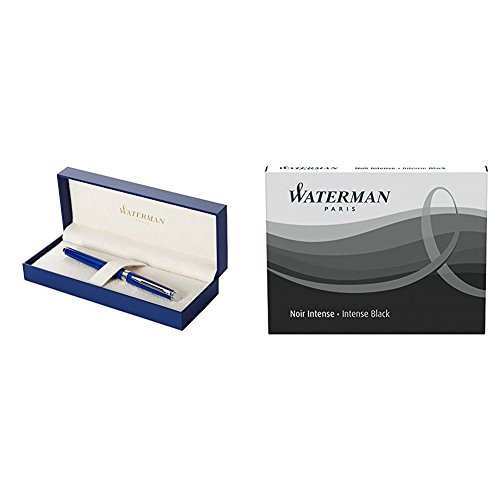 Waterman Hemisphere Foutain Pen Blue Obsession Medium Nib with 2 packs of Standard Size Ink...