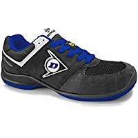 Dunlop DL0201036-44 Zapato, Piel de Ante y Mesh Negro y Azul 44