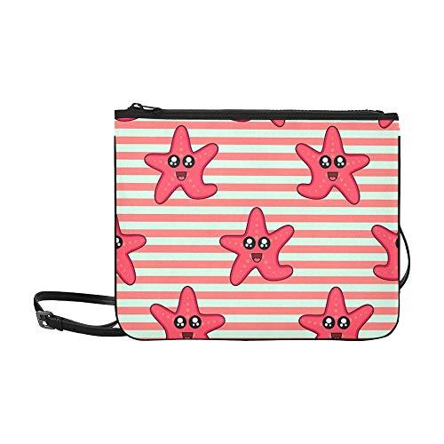 (WYYWCY Cute Kids Starfish Girls Boys Benutzerdefinierte hochwertige Nylon Slim Clutch Cross Body Bag Schultertasche)