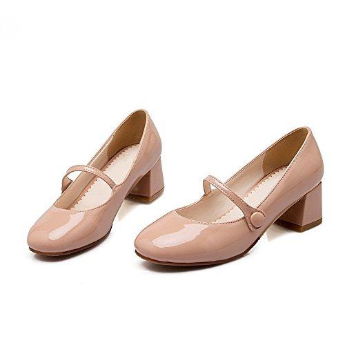 AllhqFashion Damen Rein Mittler Absatz Ziehen Auf Quadratisch Zehe Pumps Schuhe Pink