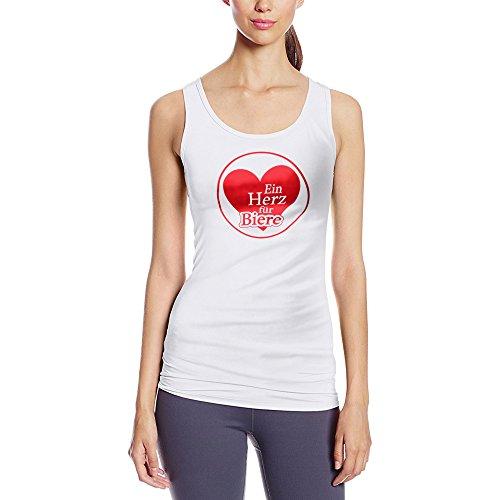 Frauen Tanktop mit Aufdruck in Weiß Gr. XL Ein Herz für Biere Design Girl Top Mädchen Tank Top Damen Basic 100% Baumwolle Kurzarm (Liebe Bier T-shirt Girls)