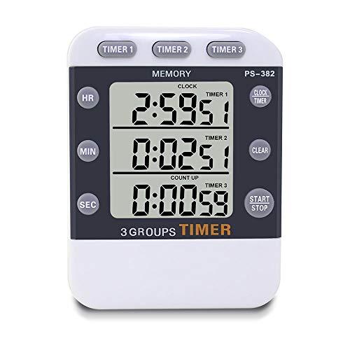 TOOGOO Cuisine Numérique Cuisine Minuteur l'horloge, 3 Canaux Chronométrage Simultané Compte à Rebours Jusqu'à La Poche Minuteur,Grand écran LED,Alarme Forte,Fonction Chronomètre Mémoire